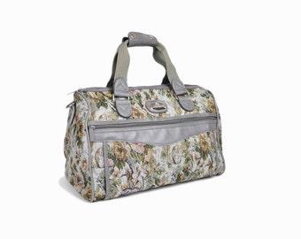 Vintage 90s Tapestry Weekender Bag in Gray Floral