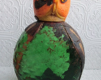 DISTRESSED OWL BOTTLE Vintage Decantur Glass Bottle Plastic Head Green Leather Halloween Prop Italy Chippy