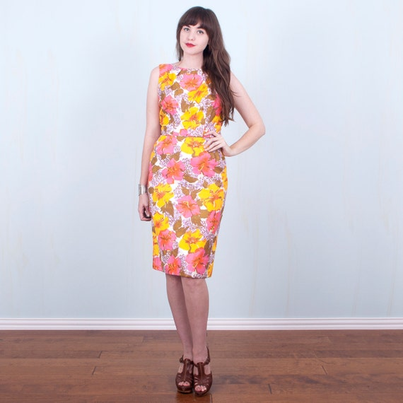 60's Floral Dress Hawaiian Tropical Cotton Wiggle Dress Pink Yellow / Medium