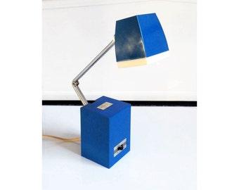 Vintage Blue Folding Task Light / Desk Lamp