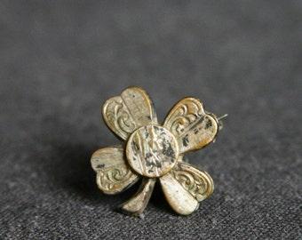 Lucky four leaf clover vintage brooch.