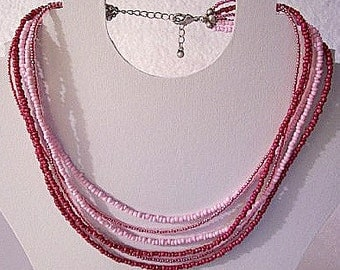 Pink Fuchsia Six Strand Necklace Silver Tone Vintage Lucite Seed Beads Size Adjustable Lobster Claw Clasp