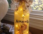 Wine Bottle lamp, angels, angel, friend gift, wine bottle lamps, wine bottle light, wine bottle lights, lighted bottles, lighted wine bottle