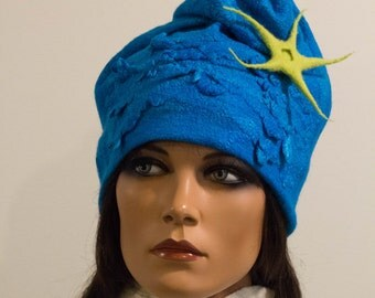 Felt turquoise blue free form hat soft Chunky light felted silk no size Unique exclusive Regina Doseth handmade in Lithuania EU