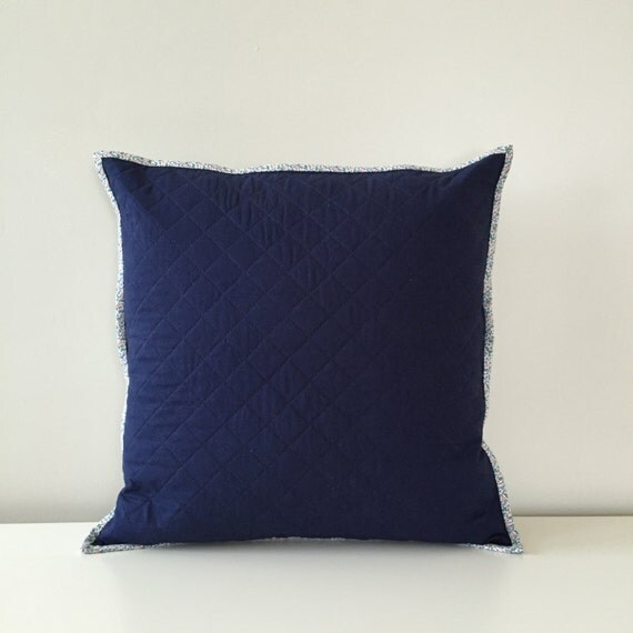 Throw Pillows For Navy Blue Couch : Quilted Throw Pillow Cover Navy Blue and Periwinkle Couch