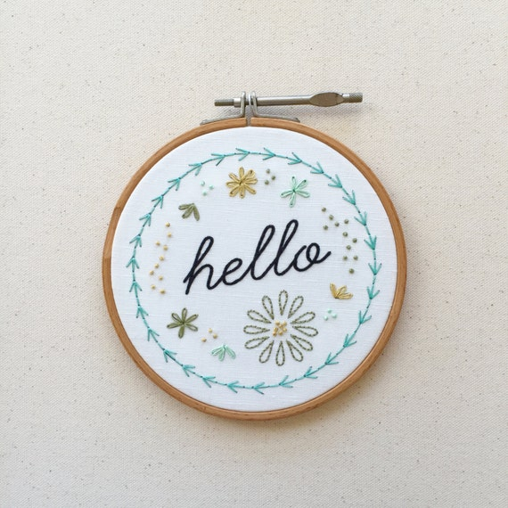 Hello embroidery pattern modern hand kit