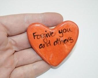 Forgive Ceramic prayer Heart orange