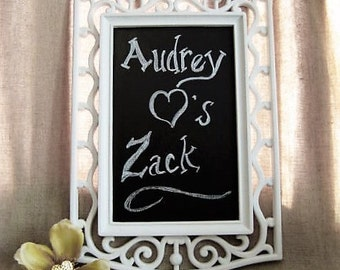 Framed Chalkboard / White Framed Chalk Board / Wedding Sign / Vintage Upcycled Mirror/ Chalkboard for Wedding or Home Decor