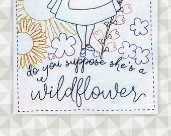 Instant Download- Embroidery Pattern. Alice in Wonderland. Alice. Do you Suppose she's a Wildflower. Floral Embroidery. Book Lover Stitchery