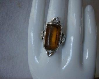 Vintage AMBER STERLING Silver Statement RING Antique Amber Glass & Silver Size 4 1/2 Cocktail Ring Rectangular Golden Amber Framed Silver