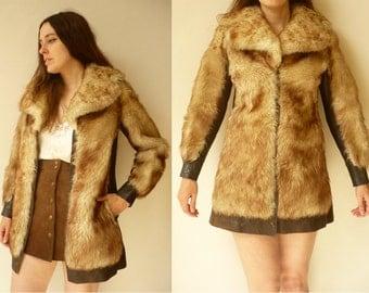 1970's Vintage Penny Lane Sheepskin Shearling & Leather Jacket Coat Size XS