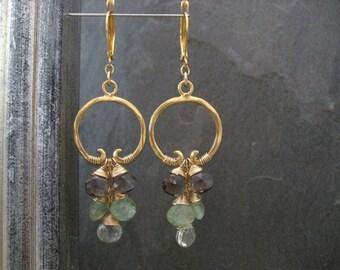 Cascading hoops, statement earrings, kyanite drops, smoky quartz dangle, scapolite dangle, cluster earrings, green chandelier, gemstones