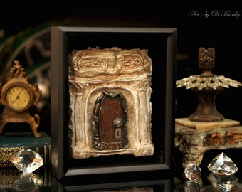 Fairy Door: OLD HOLLYWOOD MANOR. Faerie Dream Door Sculpture dollhouse furniture room, by Fae Factory Artist Dr Franky Dolan (Original Art)