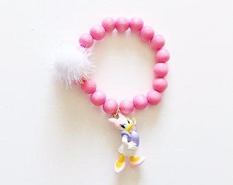 Disney Jewelry Daisy Duck Wood Bead Bracelet, giddyupandgrow
