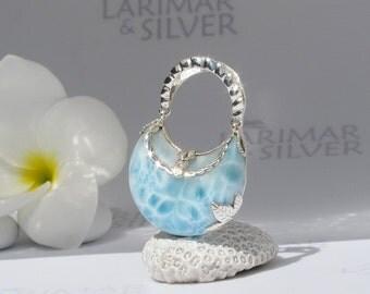 Larimarandsilver pendant, Little Mermaid Purse 3 - topaz blue Larimar stone, blue purse, water blue, blue crystal, handmade Larimar pendant