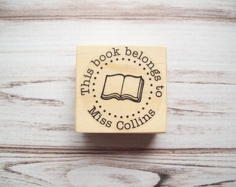 This Book Belongs To Stamp , Teacher Name Stamp , Bookplate Rubber Stamp , From the Library Of