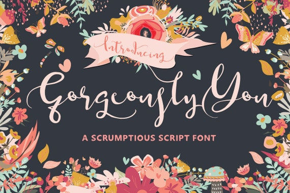 Calligraphy Font, Modern Calligraphy, Digital Fonts, Wedding Font, Invitation Font, Script Font, Digital Download, Gorgeously You