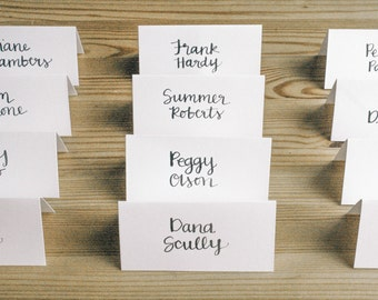 CALLIGRAPHY PLACE CARDS, custom calligraphy, style #7 - wedding, event, escort cards, place cards, name tent, seating cards, name cards