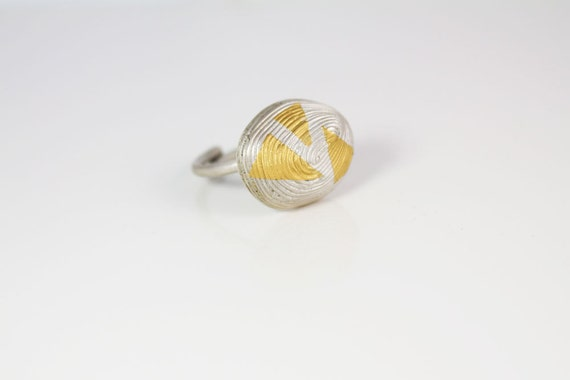 Keum boo ring African style statement ring Silver and gold ethnic ring  Modern geometric ring