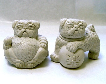 2 Mini Lucky Zen PUG Dogs Buddha and Foo Bonsai Statues