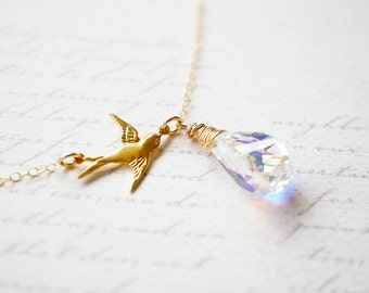 Necklace, Gold Necklace, Bird Necklace, Crystal Necklace, Swallow Necklace, Handmade Necklace, Bridal Necklace, Bridal Jewelry, Gift for Her