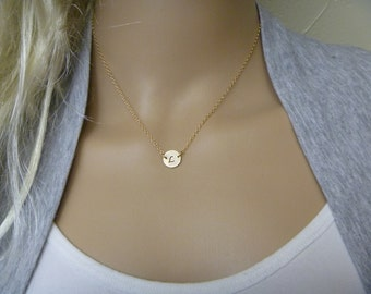 Initial Necklace - Personalized Necklace - Gold Filled Disc Necklace - Friendship Necklace - Bridesmaid Gift - Bridesmaid Jewelry
