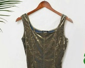 Vintage 90s olive green velvet sleeveless top blouse