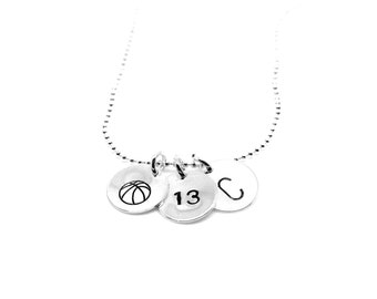 Hand Stamped Basketball with Number and Initial Necklace: Silver