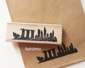 Singapore skyline rubber stamp / hand carved / singaporean/ country/ customize/ custom order/ marina bay sands/ art science museum