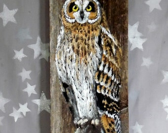"Short Eared Owl, sleek owl, Ozarks barnwood, rustic, hand painted 5 1/2"" x 16"""