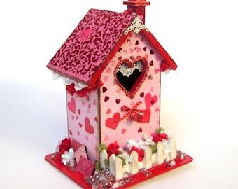 Valentine Birdhouse Valentines Day Decor February Centerpiece Red Pink Hearts Embellished Bird House Decoupaged Holiday Decoration
