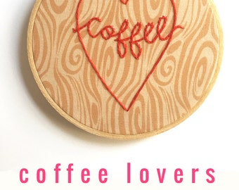 Embroidery Hoop Art. Gifts for Coffee Lovers. Carved Tree. I Love Coffee Art. Woodgrain Fabric Hoop. Small Space Decor. Gifts for Teen Girls