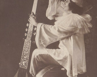 Rita Sacchetto, Dancer and Silent Film Star, with Amazing Lute! (2) circa 1910.