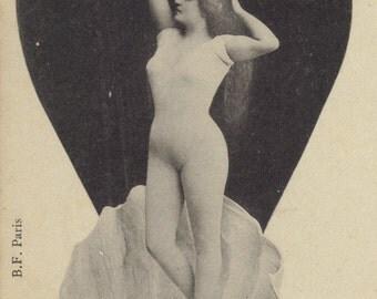 Faux-Nude Love Goddess Aphrodite at Dawn, French Postcard, circa 1895/1900