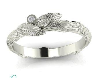 Tree Bark wedding band Leaves Diamond Ring Alternative Nature Inspired Ring