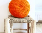 Round Pillow Crochet Wool - by hand dyed in orange