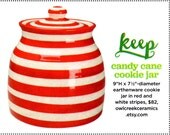 In Stock - As Seen in HGTV Magazine - Red White Stripes Tall Cookie Jar - Hand Painted Ceramic Pottery