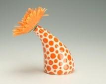 Orange Tangerine Polka Dot Flower Vase See Ya Later Tilt Vase Hand Painted