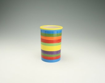Wow Striped Utensil Crock or Vase Colorful Hand Painted Stripes