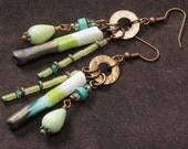 Mojito earrings: hand made porcelain tips, turquoise, olive jade, apatite, crystal, hammered bronze