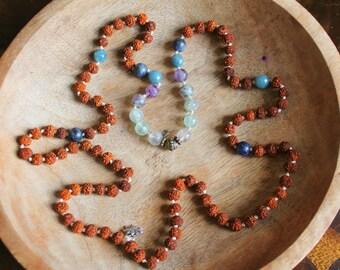 Rudraksha, Fluorite, Aquamarine, Blue Aventurine and Vintage Brass beads 108 Mala Necklace OOAK