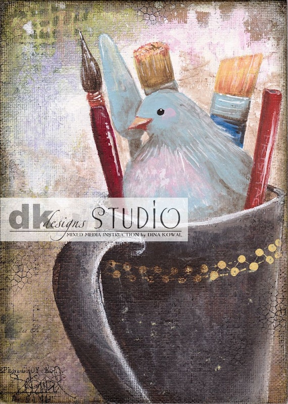 "She Paints -  5""x 7"" print - bird in art supplies"