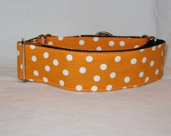 Orange Polka Dot Martingale Dog Collar - 1.5 or 2 Inch - white dots tennessee syracuse fun fall