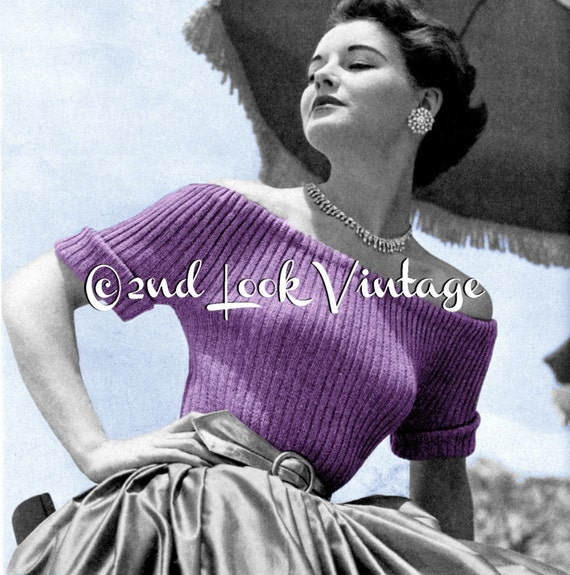 Knitting Pattern For Off Shoulder Sweater : Items similar to Vintage Vogue Knitting Pattern 1950s Off ...