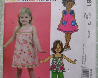 Girls Summer Top, Dresses and Pants Sizes 6 7 8 UNCUT McCalls Pattern M6061