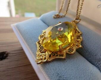 Antique Filigreed Goldplated Pendant Glass Citrine Stoned Pendant Rhinestone Center Goldplated Open Cut Filigree Setting