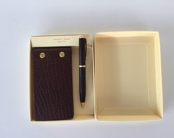 Graphic Image Bison Full Grain Leather Flip Pad and Pen Set/By Gatormom13