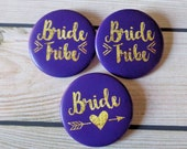 Bachelorette Party Buttons, Bride Tribe, Purple and Gold