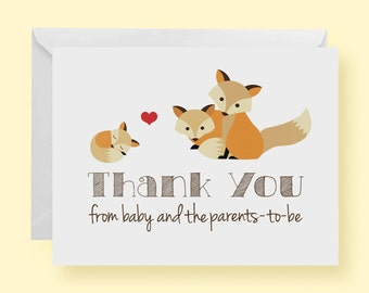 Set of 10 - Gender Neutral Fox Baby Shower Thank-You Cards