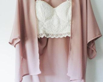 Handmade Kimono Cardigan (Blush Life) -  bohemian kimono, handmade, chiffon, kimono jacket, boho, festival, cover